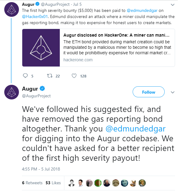 Augur Awards a $5,000 Bounty to White-Hat Hacker For Sharing