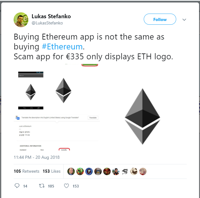 Fake Ethereum App Manages to Collect $35,000 Before Being Removed