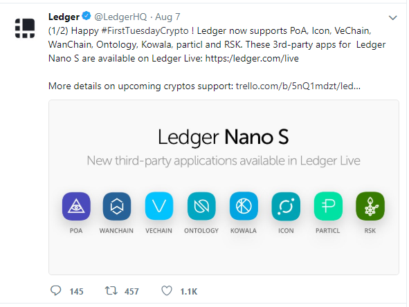 8 Additional Cryptocurrencies Are Now Supported by Ledger